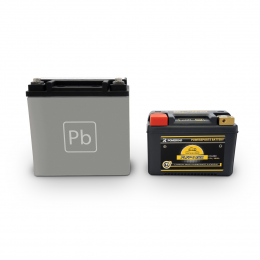PLFP-14BR  confronto con batteria al piomno acido equivalente